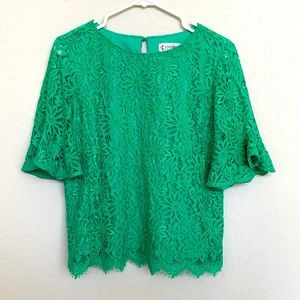 Nanette Lepore Green Lace Top Size S